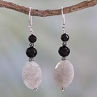 Onyx and labradorite dangle earrings,