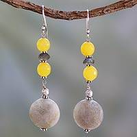 Labradorite dangle earrings, 'Sunshine Mist' - Artisan Crafted Labradorite and Chalcedony Earrings