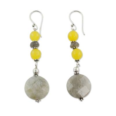 Artisan Crafted Labradorite and Chalcedony Earrings
