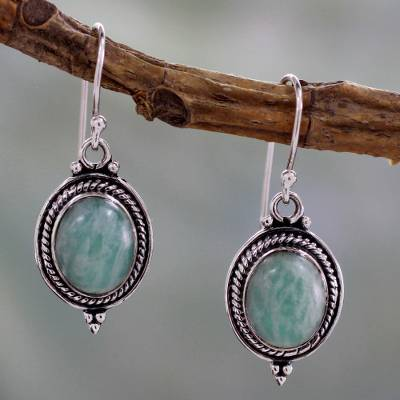 Amazonite dangle earrings, 'Jungle Charm' - Handcrafted Indian Earrings with Amazonite