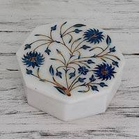 Marble inlay jewelry box, 'Country Meadow' - Handcrafted Marble Inlay jewellery Box