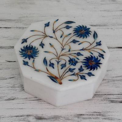 Marble inlay jewelry box, 'Country Meadow' - Handcrafted Marble Inlay Jewelry Box