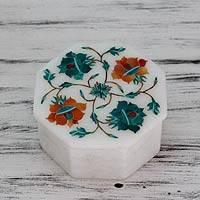 Marble inlay jewelry box, 'Forest Sunflowers' - Handcrafted Marble Inlay Jewelry Box