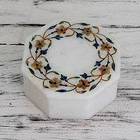 Marble inlay jewelry box, 'Garland' - Handmade Marble Inlay Jewelry Box