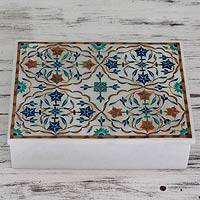 Marble inlay jewelry box, 'Medallions' - Handcrafted Indian Floral Marble Inlay Jewelry Box
