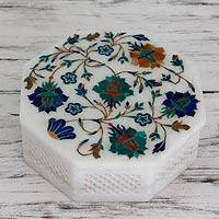 Marble inlay jewelry box, 'Roses' - Handmade Marble Inlay Jewelry Box
