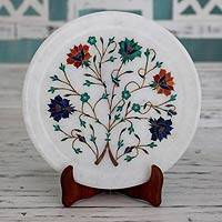 Marble inlay plate, 'Taj Mahal Bouquet' - Handcrafted Inlay Marble Decorative Plate