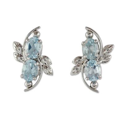 4 Carat Blue Topaz Earrings