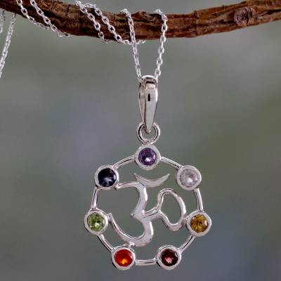 Multi-gemstone chakra necklace, 'Om Chakra' - 6.3 Cts Multi-gemstone Sterling Silver Medallion Necklace