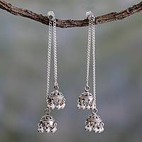 Sterling silver dangle earrings, 'Wedding Bells' - Indian Sterling Silver Detachable Jhumki Earrings