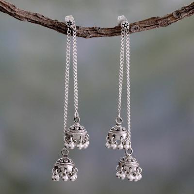 Sterling silver dangle earrings, 'Wedding Bells' - Indian Sterling Silver Detachable Jhumki Earrings