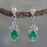 Sterling silver dangle earrings, 'Forest Treasure' - Sterling Silver and Green Onyx Fair Trade Earrings
