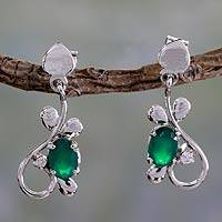 Sterling silver dangle earrings, 'Forest Dream' - Fair Trade Sterling Silver and Green Onyx Earrings