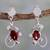 Garnet dangle earrings, 'Pure Love' - 2 Carat Garnet and Sterling Silver Earrings thumbail