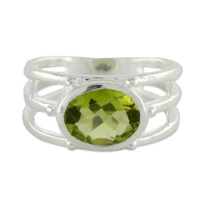 Peridot Ring Crafted of Sterling Silver