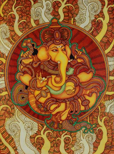 replica painting kerala mural art pure ganesha novica