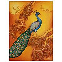 'Sunset Beauty' - Peacock at Sunset Signed Art Painting from India