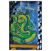 'The Ever Loving Ganesha' - Hindu Spiritual Deity Signed Fine Art Painting