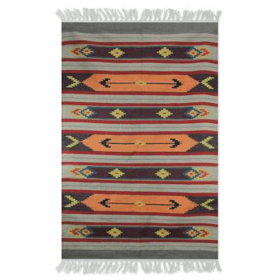 Wool dhurrie rug, 'Violet Splendor' (4x6) - Tan and Orange Dhurrie with Purple Accents (4x6)
