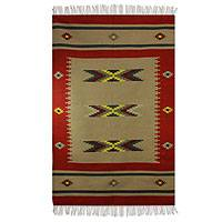 Wool dhurrie rug, 'Desert Sunset' (4x6) - Red and Tan Indian Dhurrie Rug (4x6)