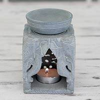 Soapstone oil warmer, 'Agra Elephants' - Oil Warmer Hand-carved of Soapstone