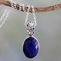 Lapis lazuli pendant necklace, 'Floral Facets' - Artisan Made Silver and Lapis Necklace