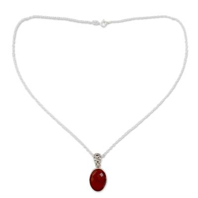 Artisan Made Silver and Carnelian Necklace
