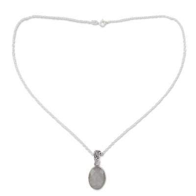 Artisan Made Silver and Rainbow Moonstone Necklace