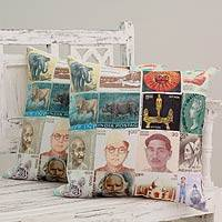 Cotton cushion covers, 'Back in Time II' (pair) - Square Cotton Cushion Pillow Covers (Pair)