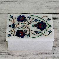 Marble inlay jewelry box, 'Archway Bouquet' - Handcrafted Marble Inlay Jewelry Box