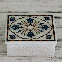 Marble inlay jewelry box, 'Cosmic Charm' - Hand Crafted Marble Inlay Jewelry Box