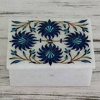 Marble inlay jewelry box, 'Carnation Sky' - Floral Marble Jewelry Box from India