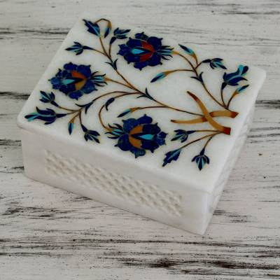 Marble inlay jewelry box, 'Floral World Heritage' - Handcrafted Indian Floral Marble Inlay Jewelry Box