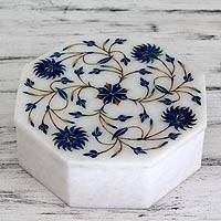 Marble inlay jewelry box, 'Kaleidoscope Blooms' - Fair Trade Marble Inlay Jewelry Box
