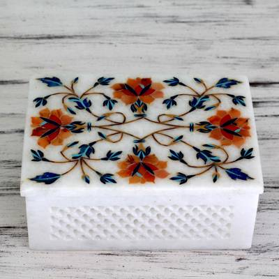 Marble inlay jewelry box, 'Sun Bouquet' - Fair Trade Marble Inlay Jewelry Box