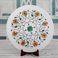 Marble inlay decorative plate, 'Summer Fantasy' - Fair Trade Marble Inlay Decorative Plate