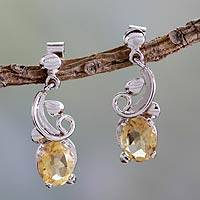 Citrine dangle earrings, 'Golden Blossom' - Artisan Made Citrine Earrings