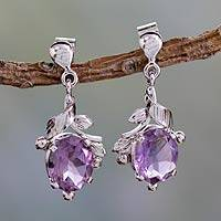 Amethyst dangle earrings, 'Wisteria Bloom' - Artisan Made Amethyst Earrings