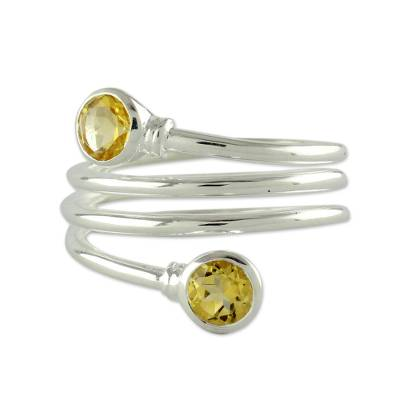Citrine Wrap Ring Crafted in Sterling Silver