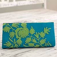 Wool and leather accent clutch bag, 'Aqua Fantasy' - Green on Blue Embroidered Wool Clutch Bag