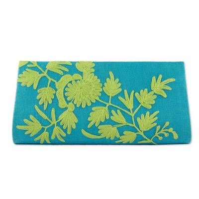 Green on Blue Embroidered Wool Clutch Bag