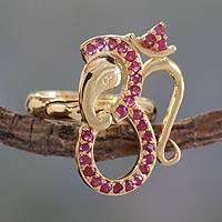 Gold vermeil ruby cocktail ring, 'Ganesha's Om' - Ruby and Gold Vermeil Ring