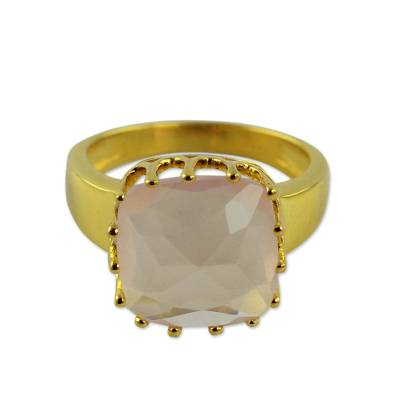 Rose Quartz and Gold Vermeil Ring from India