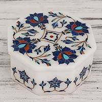 Marble inlay jewelry box, 'Midnight Bloom' - Floral Marble Inlay jewellery Box