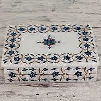 Marble inlay jewelry box, 'Nautical Stars' - Handcrafted Marble Inlay jewellery Box