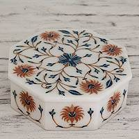 Marble inlay jewelry box, 'Sunflower Bouquet' - Handcrafted Indian Floral Marble Inlay Jewelry Box
