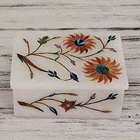 Marble inlay jewelry box, 'Sunflower Duet' - Floral Marble Jewelry Box from India