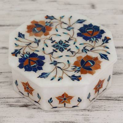 Marble inlay jewelry box, 'Swirling Blossoms' - Heptagonal Marble Inlay Jewelry Box