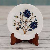 Marble inlay plate, 'Blue Roses' - Handcrafted Inlay Marble Decorative Plate