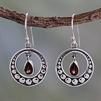 Garnet dangle earrings, 'Royal Scarlet' - Fair Trade Garnet and Silver Earrings